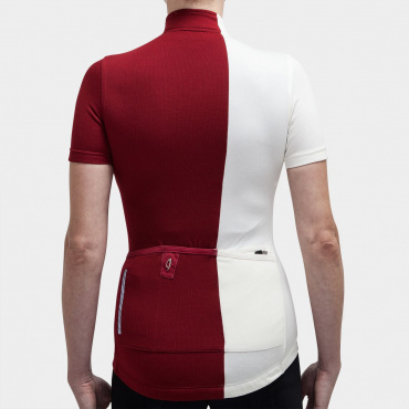 Asymmetric Jersey Rio Red / Antique White
